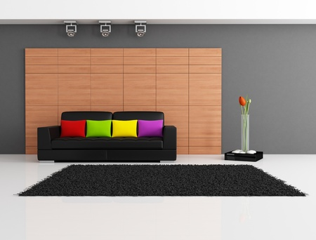 black couch with cushion against wooden panel - rendering Stock Photo - 9572884