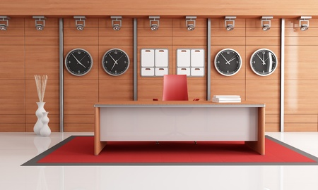 modern office  with wooden panel and empty desk - rendering photo