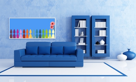Contemporary Blue living room with bookcase - rendering- the art picture on wall is a my render composition photo