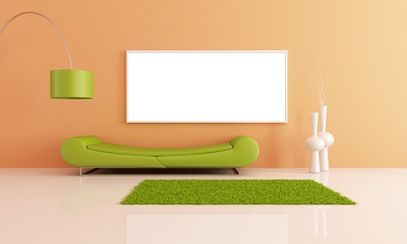 minimalist living room with fashion green couch - rendering photo