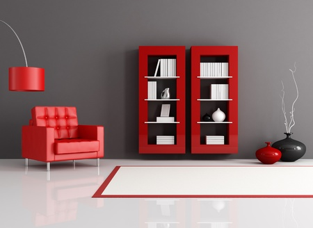 reading room: red and black reading room with leather armchair and bookcase - rendering Stock Photo