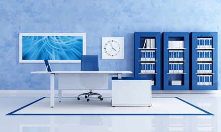 minimalist: contemporary blue office with white desk - rendering - the art picture on wall is a my composition