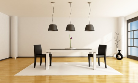 jídelna: minimalist dining room with white table and two black chairs - rendering
