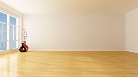minimalist: empty white room with parquet floor - rendering Stock Photo