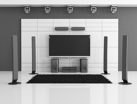 empty black and white home theater - rendering Stock Photo - 9675634