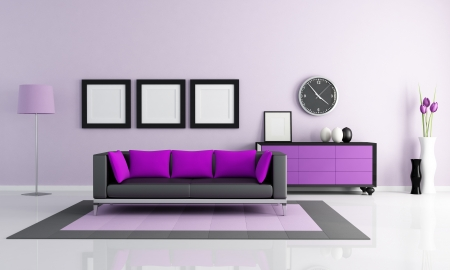 contemporary purple and lilla living room - rendering photo