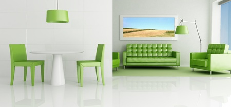 contemporary lounge with dining space and green living - rendering - the art picture on wall is a my photo photo