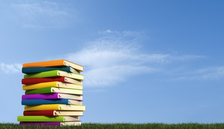 A stack of books over grass against blue sky-rendering photo