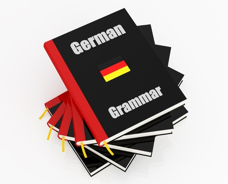 grammar: stack of german grammar isolated on white - rendering