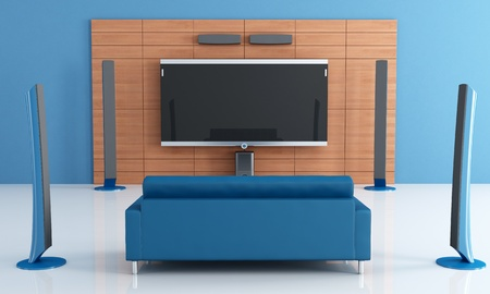 home theater: Contemporay blue home theater with couch - rendering Stock Photo
