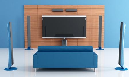 stereo: Inclura bleu home cin�ma avec divan - rendu Banque d'images