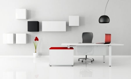 minimalist office with white desk laptop and cabinet - rendering photo