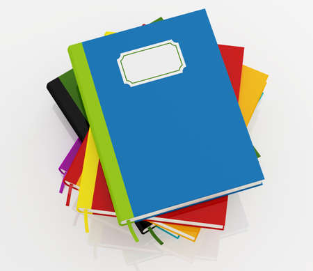 blue top: top view of colorful books stack over white background - rendering