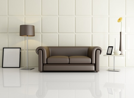 living room with classic sofa against square beige panel - rendering