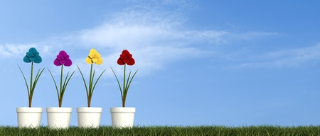 four flower in white vase over grass - rendering-the sky on background is a my photo Stock Photo - 9873514