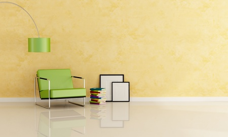 modern green armchair against stucco wall with stack of books and empty frame-rendering photo