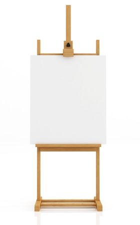 artist easel  isolated on white with blank canvas - rendering photo