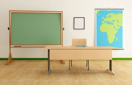 classroom chalkboard: Classroom with desk green blackboard and map - rendering - the map on wall is a my image