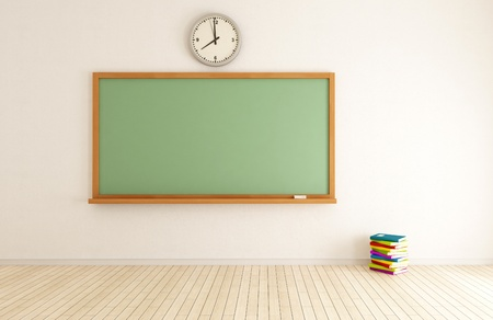 classroom chalkboard: empty classroom with green blackboard and stack of book - rendering Stock Photo