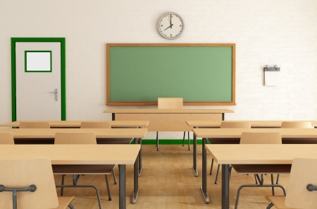 classroom chalkboard: classroom without students with wooden furniture and green blackkboard on brick-wall-rendering