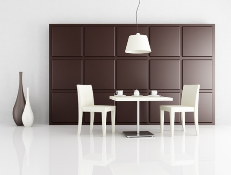 two white chair  with coffee table against brown panel - rendering photo