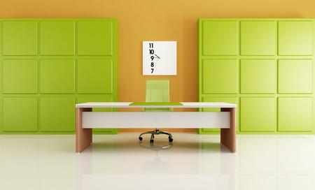 minimalist green and orange office - rendering photo
