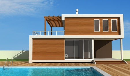 modern house exterior: luxury modern house with swimming-pool - exclusive design - rendering Stock Photo