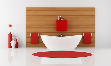 contemporary bathroom with bathtub against wooden panel - rendering photo