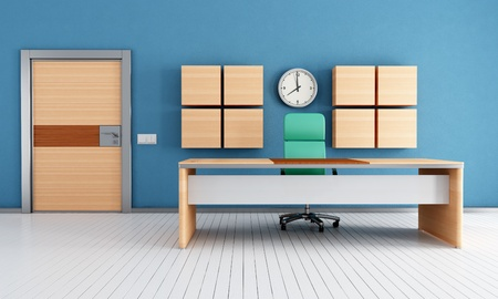 contemporary blue  modern office with armored door - rendering photo