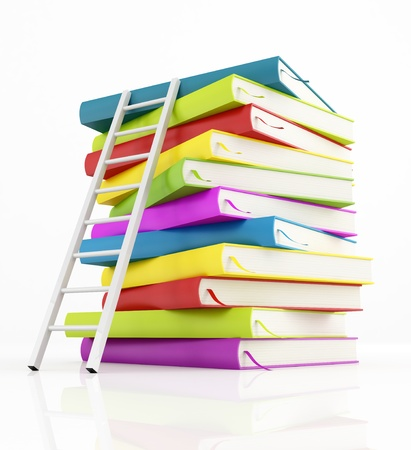 ladder of success: white ladder standing near stack of books. isolated on white - rendering