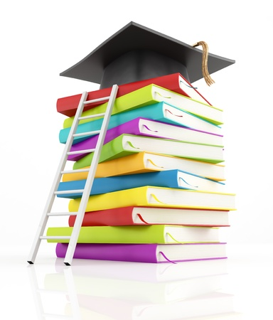 ladder of success: graduation cap on the top of stack of books with white ladder -rendering