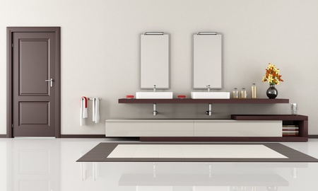 elegant minimalist bathroom with two sink - rendering photo