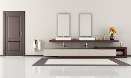 bathroom interior: elegant minimalist bathroom with two sink - rendering Stock Photo