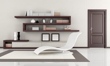 bookcase: beige and brown elegant minimalist lounge - rendering