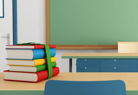 stack of books on the school desk in the front row - rendering photo