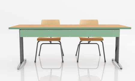 wooden chair: School desk with two seats isolated with reflection - rendering Stock Photo