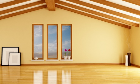 empty attic with wooden beam - rendering- excclusive design - the sky on background is a my photo photo