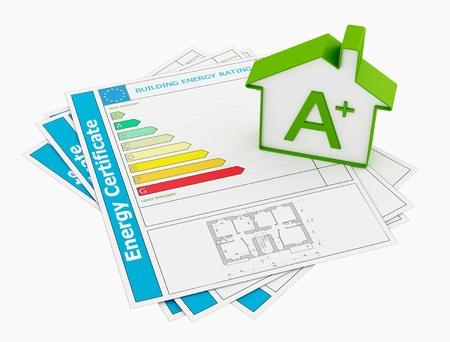 eficiencia energetica: Certificado de energ�a con el modelo de casa aislada en blanco - representaci�n Foto de archivo