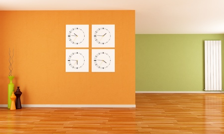 orange and green empty interior with clocks and radiator - rendering photo