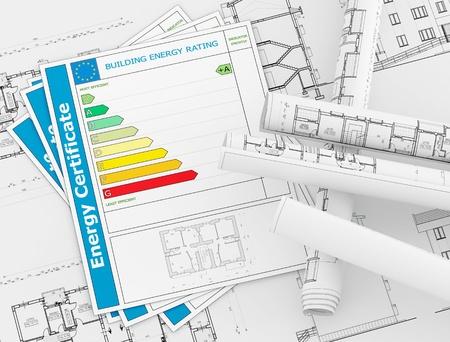 eficacia: Certificado de energ�a con rollos de blueprint de arquitectura - representaci�n