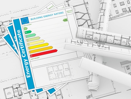 Energy Certificate with rolls of architecture blueprint - rendering Stock Photo