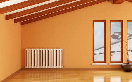 orange mansard with hot water radiator-rendering-the image on background is a my photo-etna winter 2011 photo