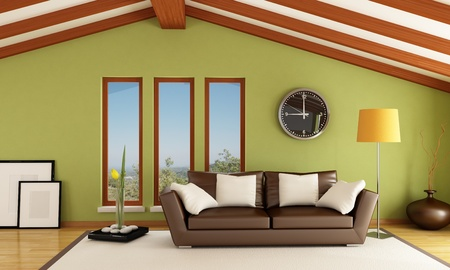 contemporary mansard with brown sofa - rendering - the image on background is a my photo photo