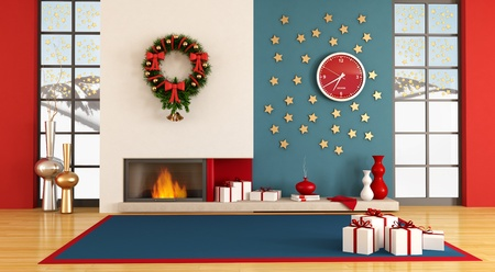 fireplace living room: Empty living room with christmas decor - rendering- the image on background is a my photo