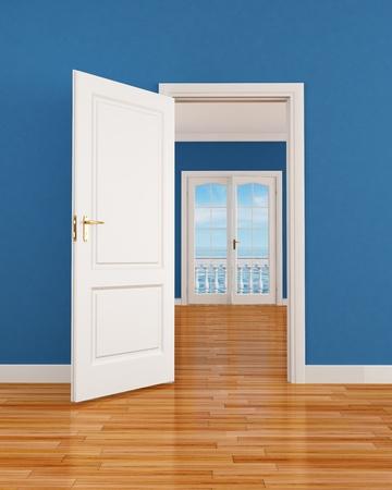 porta aperta: vuoto interno blu con la porta aperta e la finestra-rendering immagine sullo sfondo � una mia composizione di rendering Archivio Fotografico