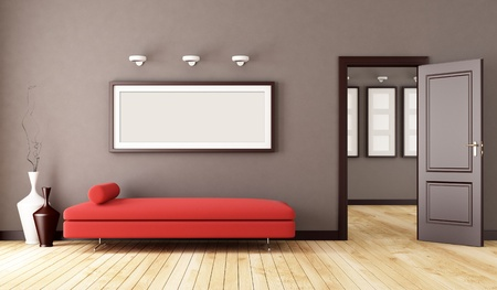 living room minimalist: brown interior with red modern couch and open door- rendering
