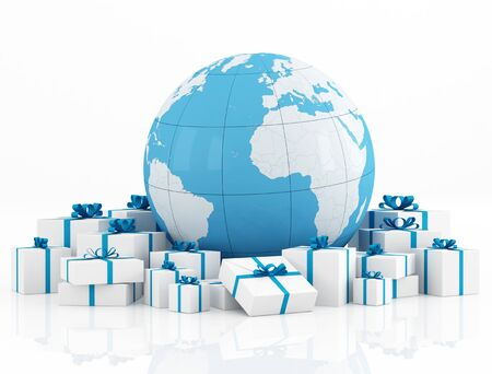 Earth globe and gift box on white - rendering-The earth texture-map were completely hand traced from http://www.evl.uic.edu/pape/data/Earth/  Stock Photo - 10617377