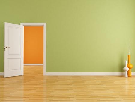 Red and orange interior with open white door - rendering