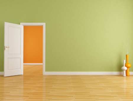 open doors: Red and orange interior with open white door - rendering