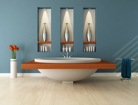 vase plaster: Modern bathroom wih circular  bathtub and niche - rendering Stock Photo